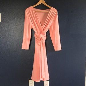 Womens Wrap 3/4 Sleeve Pleated Casual T-Shirt Midi